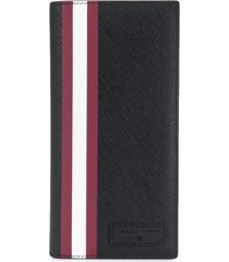bally signature stripe long wallet - black