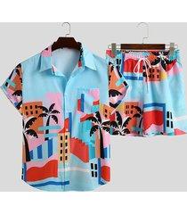 incerun hombres imprimir camisas casuales shorts conjunto traje de baño