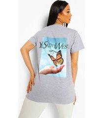 oversized ye saint west t-shirt met rugopdruk, grey marl
