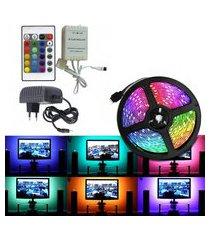 fita led strip lâmpada rgb 5 metros iluminação fundo tv, computador e setup gamer + controle remoto