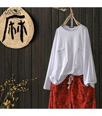 zanzea plus s-5xl de las mujeres de manga larga tapas de la camisa de la blusa bolsillos patchwork sólido suelto tee -blanco