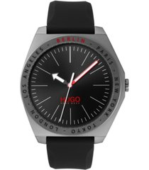 hugo men's #act black silicone strap watch 44mm