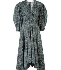 steel blue polka-dot dress
