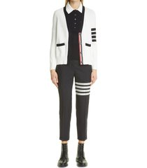 women's thom browne 4-bar low rise wool crop skinny pants, size 12 us - blue