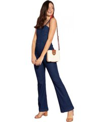 macacã£o quintess alã§as jeans azul - azul - feminino - algodã£o - dafiti