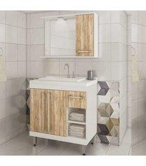 conjunto banheiro 3 portas 1 gaveta nichos lilies mã³veis - branco/marrom - dafiti