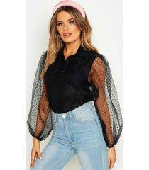 dobby mesh oversized balloon sleeve shirt, black