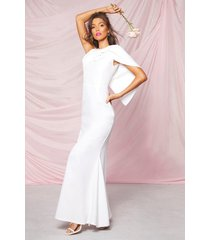 occasion bow cape detail maxi dress, ivory