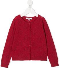 bonpoint cherry pattern cardigan - red