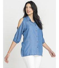 blusa lyocell off shoulder azul curvi