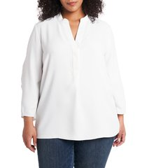 plus size women's vince camuto ruched sleeve split neck blouse, size 2x - ivory