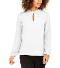 nine west mock-neck keyhole blouse
