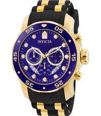 reloj invicta 6983 oro negro acero inoxidable, silicona