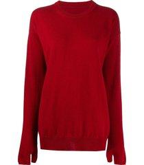maison margiela glove-detail jumper - red