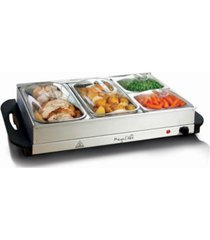 megachef buffet server, food warmer with 4 removable sectional trays, heated warming tray and removable tray frame