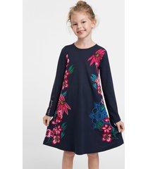embroidered t-shirt dress - blue - 13/14