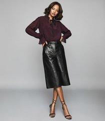 reiss maevie - silk blend polka dot detail blouse in berry, womens, size 12