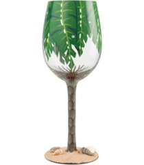 enesco wine glass palm tree