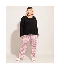 pijama manga longa plus size com poá preto