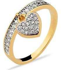 anel pingente de coracao imperia semijoia banho de ouro 18k cravacao de zirconias detalhe em rodio