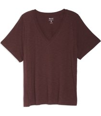 plus size women's madewell whisper cotton v-neck t-shirt, size 3x - burgundy