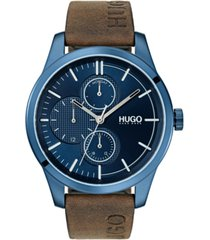 hugo men's #discover brown leather strap watch 46mm