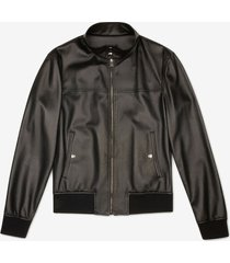 perforated leather jacket black 60