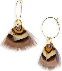 women's gas bijoux bermude feather hoop earrings
