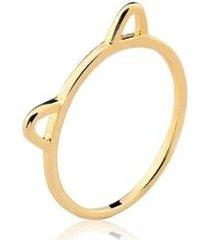 anel estelle semijoias gato fininho banhado ouro 18k feminino