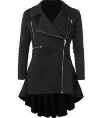 lapel neck plus size zipper embellished coat