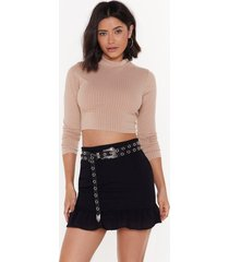 womens crop it low high neck sweater - stone