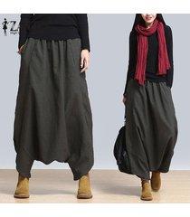 zanzea plus s-5xl verano de las mujeres de gran tamaño de cintura alta harem pantalones holgados pantalones cruzados pantalones casuales de la danza de hip-hop suelta pantalones grises -gris