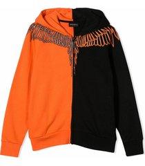 marcelo burlon black and orange cotton sweatshirt