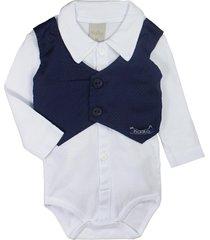 body camisa de bebê com coletinho branco e marinho cute branco era uma vez