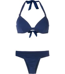 amir slama triangle top bikini set - blue