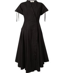 aganovich flared shirt dress - black