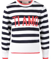 alberta ferretti blue and white sweater with red ti amo writing for kid