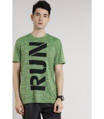 """camiseta masculina esportiva ace """"run"""" manga curta gola careca verde"""