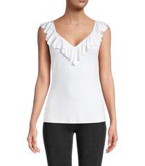 bailey 44 women's ruffled triad top - white - size s