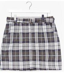 womens check zip front mini skirt - green