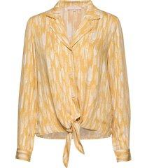 blaze ls tie shirt printed blus långärmad gul soft rebels