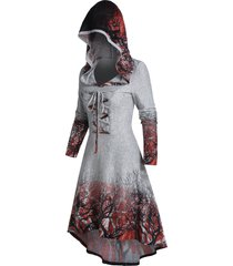hooded tree root print lace-up high low dress