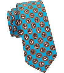embroidered circle medallion silk tie