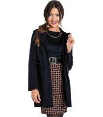 casaco moda pop sobretudo preto