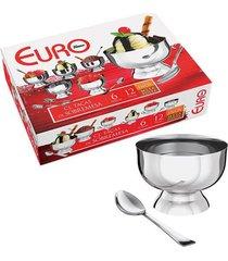 conjunto de taças para sobremesa inox euro 12 peças