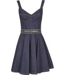 dolce & gabbana rear zip flared denim dress