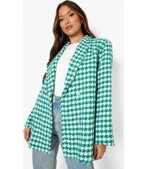 getailleerde bouclé dogtooth blazer met gerafelde zoom, bright green