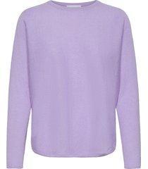 curved sweater stickad tröja lila davida cashmere