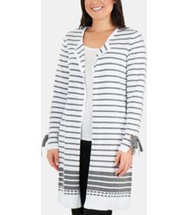ny collection cotton striped tie-sleeve open-front cardigan