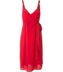 eva draped wrap sleeveless dress - red